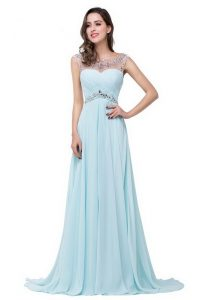 Scoop Beading High School Pageant Dress Light Blue Zipper Sleeveless With Brush Train