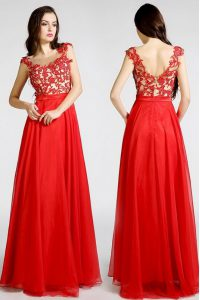 Attractive Floor Length Red Pageant Dress for Womens Chiffon Sleeveless Beading and Appliques