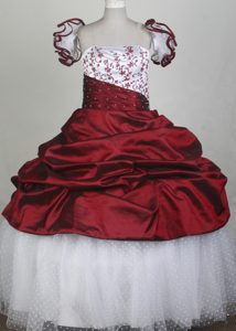 White and Wine Red Taffeta and Tulle Girl Pageant Dresses with Embroidery