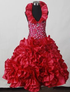 2013 Fabulous Flowers Zipper-up Beaded Red Pageant Dresses for Miss World