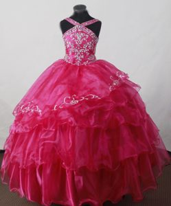 Special V-neck Beaded Floor-length Hot Pink Pageant Dress for Miss America