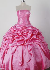 Luxurious Flowers Lace-up Rose Pink Taffeta Pageant Dresses for Miss USA