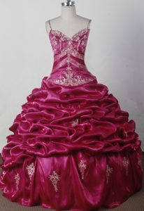 Attractive Spaghetti Fuchsia Lace-up Glitz Pageant Dresses with Embroidery