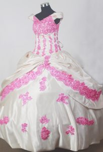 Charming Off The Shoulder White and Pink Long Pageant Dress with Appliques