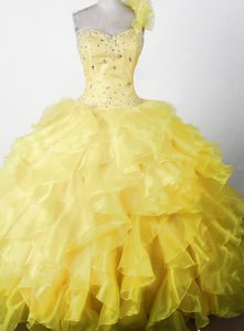 Romantic Beaded and One Shoulder Ruffled Prom Pageant Dresses in Yellow