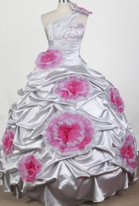 Sweet One Shoulder Long Taffeta Grey Youth Pageant Dresses with Flowers