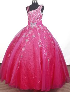 Best Seller Beaded Floor-length Hot Pink Pageant Dress Patterns for Winter
