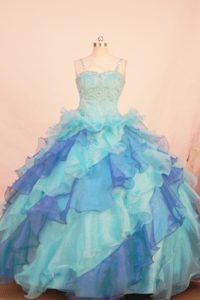 Exquisite Multi-color Beaded and Ruffled Pageant Dress with Spaghetti Straps