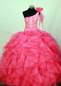 Fabulous Hot Pink One Shoulder Lace-up Girl Pageant Dress with Embroidery