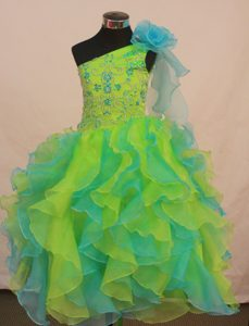 Wonderful Ruffled Lace-up Organza Miss USA Pageant Dress in Multi-color