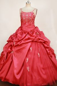 Attractive Spaghetti Red Lace-up Floor-length Pageant Dresses for Miss USA