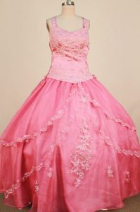 Attractive Appliqued Watermelon Zipper-up Pageant Dresses for Miss World
