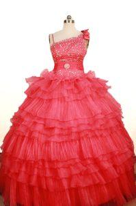 Charming Coral Red Asymmetrical Floor-length Pageant Dress for Miss USA