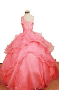 Watermelon Ruffled One Shoulder Organza Romantic Pageant Dress for Girls