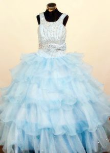 Fashionable Light Blue Square Ruffled Long Glitz Pageant Dresses under 200