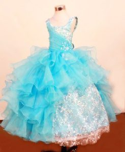 Scoop Floor-Length Lace 2013 Best Seller Beauty Pageant Dress in Baby Blue