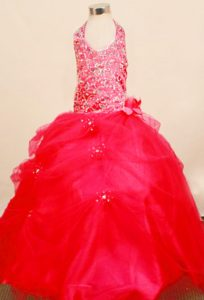 Halter Top Floor-Length Zipper-up Tulle Beautiful Pageant Dress with Beading