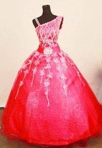 Classical Asymmetrical Appliqued Organza Prom Pageant Dress in Coral Red