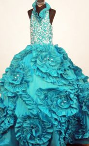Gorgeous Turquoise Halter Top Taffeta Youth Pageant Dresses with Ruffles