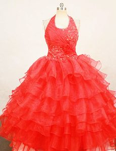 Beaded Red Halter Top Organza Memorable Pageant Dress Patterns for Fall