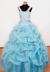 Popular Aqua Blue Beaded Miss Mississippi Pageant Dresses with Bowknot
