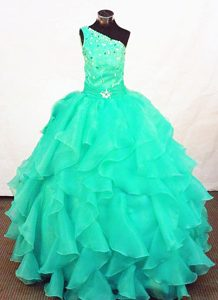 Exquisite Turquoise Organza Beaded Zipper-up Dresses for Pageants in NJ