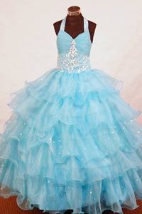 Halter Top Aqua Blue Organza Attractive Girl Pageant Dress with Appliques