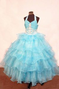 Dressy Dresses For Little Girls For Fall Pageant Dress in Aqua Blue