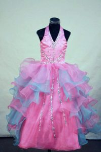 Beaded Halter Top Zipper-up Organza Gorgeous Pageant Dress in Multi-color