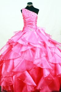 Memorable Hot Pink Organza One Shoulder Prom Pageant Dress with Ruffles