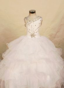 Popular One Shoulder White Organza Long Youth Pageant Dress with Beading