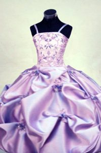 Exquisite Floor-length Beaded Taffeta Lilac Pageant Dress Pattern with Straps