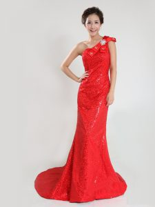 Nice One Shoulder Sequins A-line Sleeveless Coral Red Pageant Dress for Girls Sweep Train Zipper