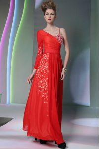 Coral Red Chiffon Side Zipper Pageant Dress Toddler Long Sleeves Floor Length Beading and Embroidery