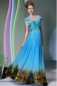 Beauteous Baby Blue A-line Square Sleeveless Printed Floor Length Zipper Appliques and Pattern Pageant Dress Womens