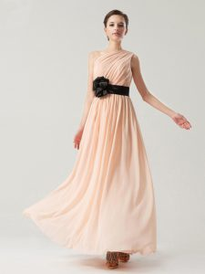 Peach Side Zipper One Shoulder Belt Pageant Dress for Teens Chiffon Sleeveless