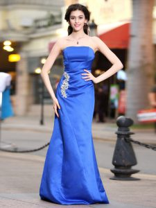 Gorgeous Taffeta Strapless Sleeveless Zipper Appliques and Ruching Pageant Dress Womens in Blue