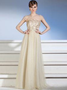 Floor Length Column/Sheath Sleeveless Champagne Glitz Pageant Dress Side Zipper