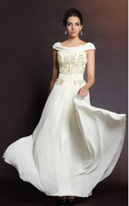 Exceptional Beading Glitz Pageant Dress White Side Zipper Cap Sleeves Floor Length