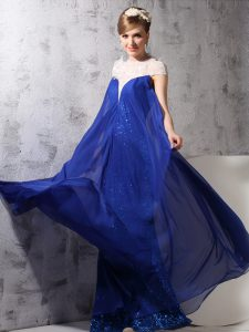 Designer Sequins Floor Length Column/Sheath Sleeveless Royal Blue Pageant Dress for Womens Zipper