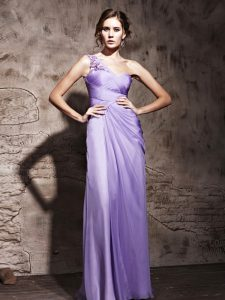 One Shoulder Lavender Sleeveless Beading and Ruching Floor Length Evening Gowns