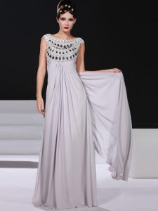 Fashionable Silver Sleeveless Chiffon Side Zipper Pageant Dress for Teens for Prom and Party