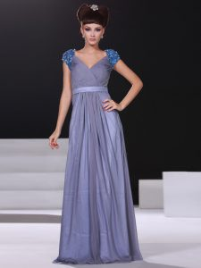 Short Sleeves Floor Length Beading and Ruching Zipper Pageant Dress for Teens with Lavender