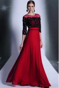 Excellent Scoop Chiffon 3 4 Length Sleeve Floor Length Winning Pageant Gowns and Beading and Appliques