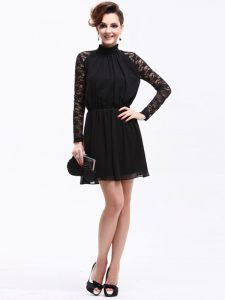 Sumptuous Black Sleeveless Lace Knee Length High School Pageant Dress