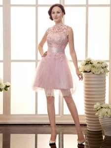 Elegant Baby Pink Zipper Pageant Dress for Girls Lace Sleeveless Mini Length