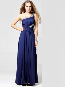 Superior One Shoulder Sleeveless Ankle Length Beading and Ruching Side Zipper Pageant Dress for Teens with Blue