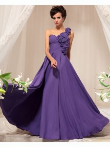 One Shoulder Purple Chiffon Side Zipper Winning Pageant Gowns Sleeveless Floor Length Hand Made Flower