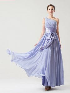 Delicate Lavender Empire Chiffon One Shoulder Sleeveless Ruching and Bowknot Floor Length Side Zipper High School Pageant Dress