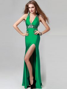 Floor Length Criss Cross High School Pageant Dress Green for Prom and Party with Beading